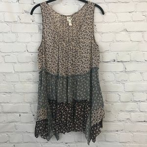 Anthropologie Multi patterned tiered tank